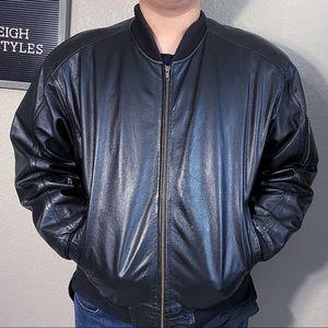 Vintage 90's Black Leather Lined Bomber Jacket